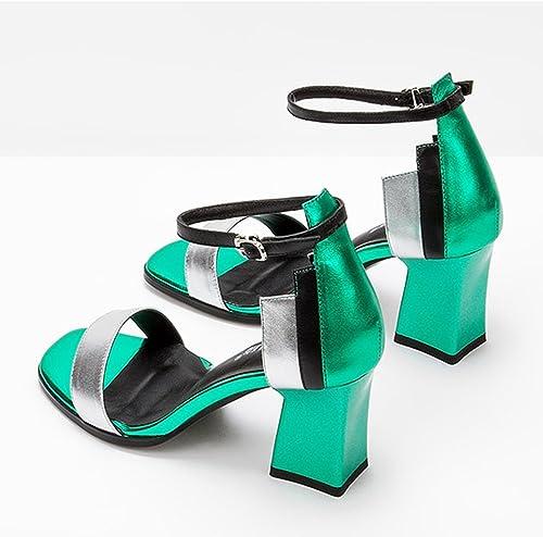 Sandales ZHIRONG Femmes d'été d'été d'été à talons hauts Open Toe Couleurblock One-Button Buckle Chaussures Femmes Rome talon épais 7.5CM (Couleur   Vert, taille   EU36 UK4 CN36) 62a