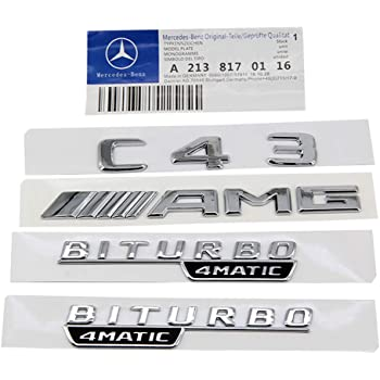 LUOWAN 1pair Chrome TURBO 4MATIC Letters Fender Emblem Badge Emblems Fit for Mercedes