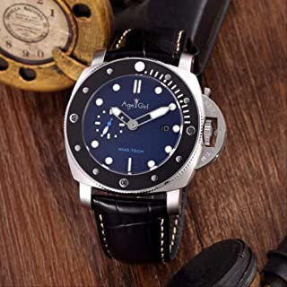 UEJDB - Clásico Nuevos Hombres Automáticos De Zafiro Mecánico Acero Inoxidable Relojes Plata Negro Ceramica Cuero Reloj Luminoso AAA +