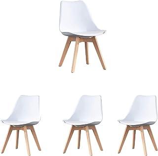 N/A Conjunto de 4 sillas de Comedor escandinavas Silla de Oficina tapizada con Tulipanes Retro con Patas de Roble Macizo y cojín de imitación de Cuero (Blanco)