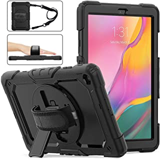 Samsung Galaxy Tab A 10.1 2019 Case with Screen Protector, SM-T510/T515 SIBEITU Heavy Duty Shockproof Full Body Rugged Protection Cover with Stand+Hand Strap+Shoulder Strap for Kids 2019 Released,Blk
