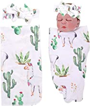PROBABY Newborn Baby Swaddle Blanket Cactus and Llama Print with Headband,Receiving Blankets for Baby