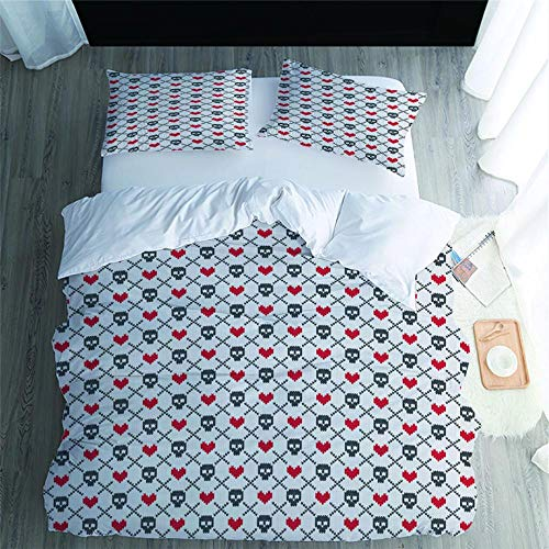 Tanboank Duvet Cover Set Easy Care Luxurious with Zipper Closure Bedding Set 3 Pieces Soft Lightweight Microfiber skull King 220x230cm