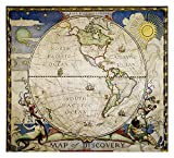 Map of Discovery, Western Hemisphere Flat - National Geographic Maps