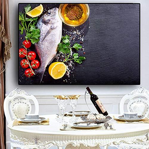 bajbajbaj1 Granos Especias Cuchara Pimientos Cocina Lienzo Pintura Cuadros Carteles escandinavos e impresión Arte de la Pared Imagen de Comida Sala de Estar Sin Marco