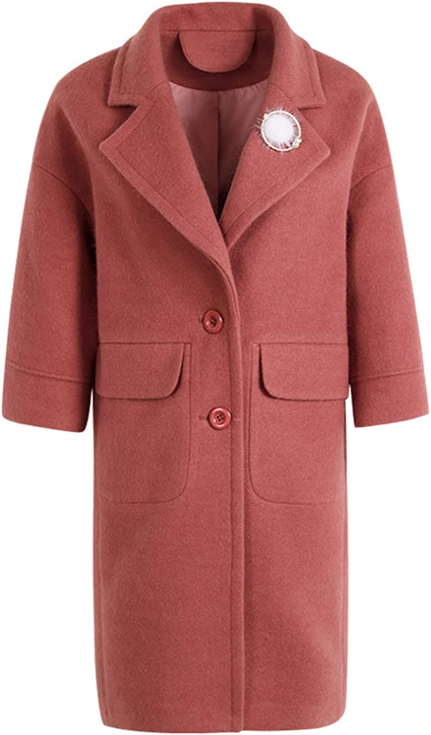 Uaneo Women's Casual Lapel Solid Woolen Coat Jacket Outerwear (Small, Red)