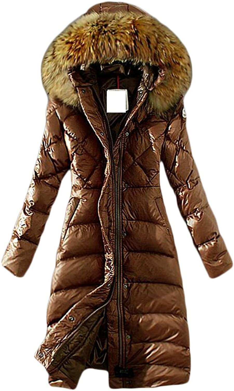 HTOOHTOOH Womens Long Sleeve Faux Fur Hooded Lightweight Padded Down Jacket Coat