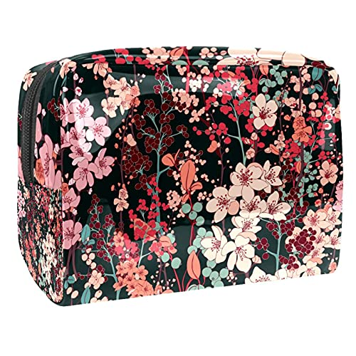 Bolso portátil del equipaje del viaje de la manija del PVC de la flor 18.5x7.5x13cm monedero con la cremallera negra para las mujeres y la muchacha, Multi-20, 18.5x7.5x13cm/7.3x3x5.1in,