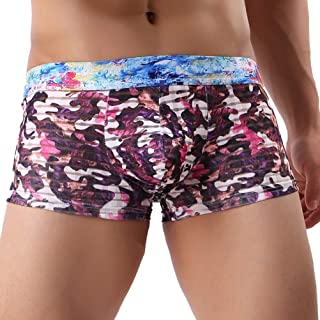 Elogoog Men's Camouflage Low Rise Sexy Cozy Print Bulge Pouch Ultra Soft Camo Underpants
