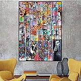 DCLZYF Colorido Graffiti Abstracto Arte de la Pared Póster Imagen Impresiones en Lienzo Pintura Divertida Obra de Arte para Sala de Estar Decorativa-60x90cm (sin Marco)