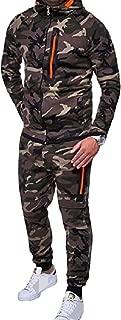 Mens Camo Outdoor Zip 2pcs Set Long-Sleeve Collection Fleece Sweatsuit