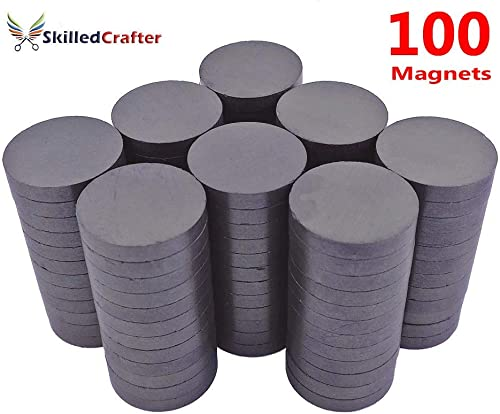 Skilled Crafter 1 inch Magnets For Craft. 25mm/4mm Round Disc Magnet. 100 in a Set for Best Value. Strong Ceramic Gra...