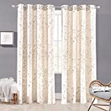 DriftAway Harper Thermal Room Darkening Grommet Unlined Window Curtains Ink Floral Pattern Living Room Bedroom Energy Efficient 2 Panels 50 Inch by 84 Inch Beige