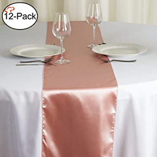 Tiger Chef 12-Pack Mauve 12 x 108 inches Long Satin Table Runner for Wedding, Table Runners fit Rectange and Round Table Decorations for Birthday Parties, Banquets, Graduations, Engagements