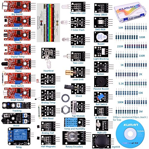 For Arduino Raspberry pi Sensor kit, Kuman 37 in 1 Robot Projects Starter Kits with Tutorials for Arduino Uno RPi 3 2 Model B B+ K5