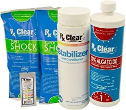 Rx Clear Spring Start-Up Kit   Chemicals for Opening Swimming Pools   Above or Inground   for Pools Up to 15,000 Gallons   Includes Shock, Algaecide, Conditioner/Stabilizer and Test Strips