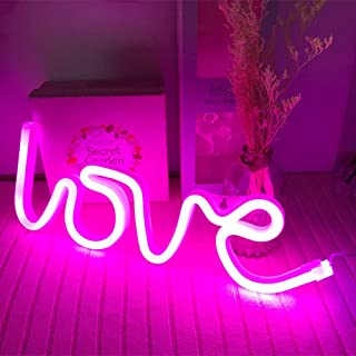 Neon Love Signs Light LED Love Art Dorm Decor Sign-Wall Decor-Table Decor for Valentine`s Gift Girls Room Kids Room Living Room House Bar Pub Hotel Beach Recreational Battery or USB Powered Light