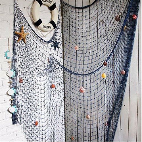 YOAYO Decorative Fish Net, Nautical Fishing Net Decoration for Party,Wall,Blue,200x150cm