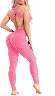 RIOJOY Ruched Butt Lift Yoga Jumpsuit Leggings for Women, Honeycomb Textured Backless Sports Bandage Romper Playsuit