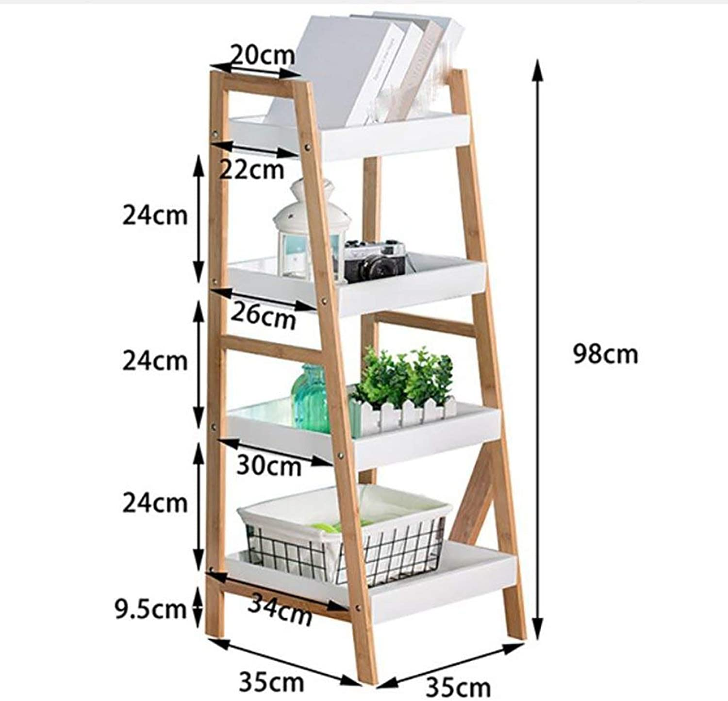 Multi-Layer Solid Wood Floor-Standing Multi-Function Shelf, White Living Room Bedroom Corner Organize Storage Box - Save Space,XXXL
