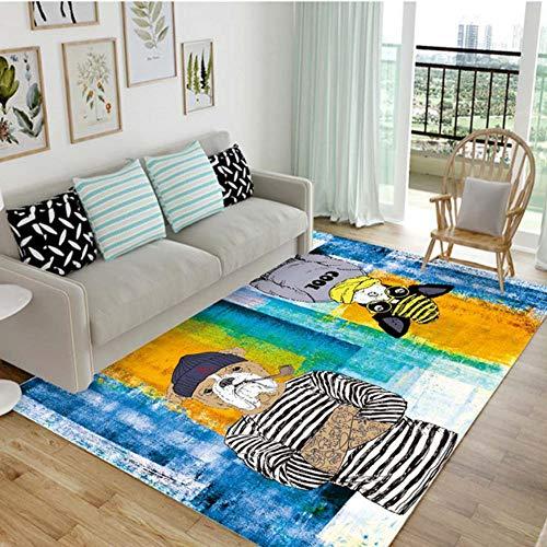 GHGD 80X120Cm-Lion Panda Sala De Estar Alfombra Sofá Mesa De Café Dibujos Animados Hogar Moderno Dormitorio Habitación para Niños Cama Alfombrillas De Noche Personalizadas