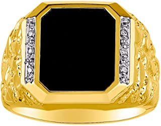 RYLOS Designer Nugget Ring With Diamonds and Black Onyx Set in Sterling Silver or Yellow Gold Plated Silver .925