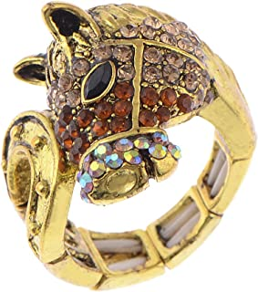 Golden Tone Petite Brass-Accented Horseshoe Fields Glory Fashion Ring