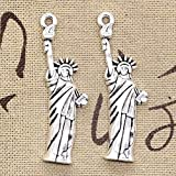 Stephen Charms - 12pcs Charms Statue of Liberty New York 49x14mm Antique Bronze Silver Color Plated Pendants Making DIY Handmade Tibetan Jewelry - by 1 PCS