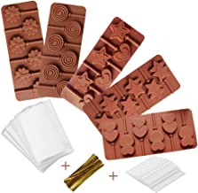 5 Pack Lollipop Silicone Candy Mold Silicon chocolate Lollipop Moulds with Shape of Double Heart, Star, Small Flower, Round, Including 30 Lollipop Sticks and 50 Pcs Candy Treat Bags