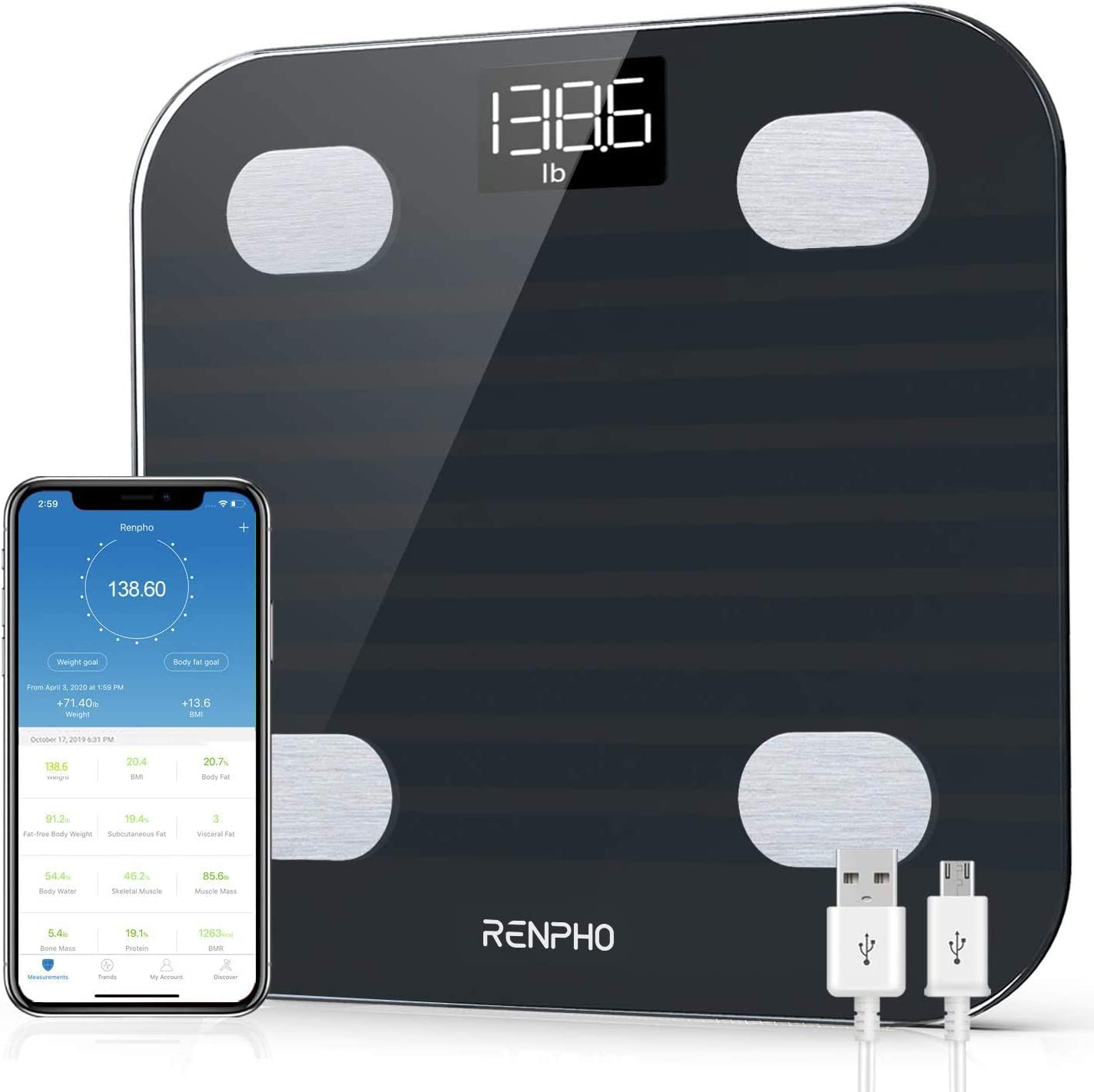 RENPHO Bluetooth Body Recommended shop Fat Scale 13 Composi Smart BMI