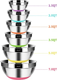 ROMEKER 6 PCS Mixing Bowls Stainless Steel Food Storage Polished Mirror Kitchen Bowls for Cooking Baking Serving Non Slip Colorful Silicone Bottom Measurement Marks Nesting Bowl(1.5/2/2.5/3.5/5/7QT)