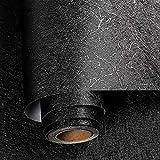 Livelynine Carta da Parati Nera Vinile Adesivo Nero Carta da Parati Adesiva Muro Camera da Letto Carta Adesiva per Pareti Moderne Soggiorno Cameretta Salotto Cucina Rivestimento Parete PVC 40CMX2M