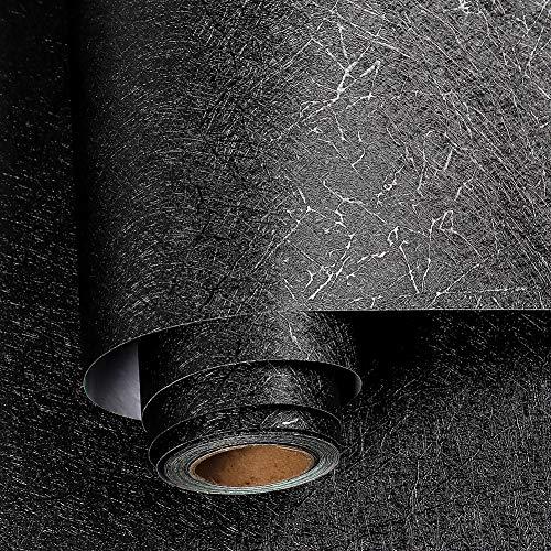 Livelynine Tapete Schwarz Wandtapete Schlafzimmer Moderne Tapeten Wohnzimmer Schwarze Folie Selbstklebend Klebefolie Wand Abwaschbar Schwarze Tapete für Flur Wände Badezimmer Wasserfest 40CMx2M