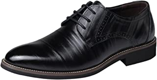 Mens Oxford Leather Shoes,Realdo Men's Casual Classic Solid Lace Up Low Top Business Dress Shoes