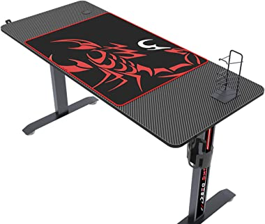 DlandHome Bureau de Jeu, Gaming Desk Jeu Table de Bureau PC Jeu avec Un Tapis de Souris, Porte-gobelet & Support pour Man