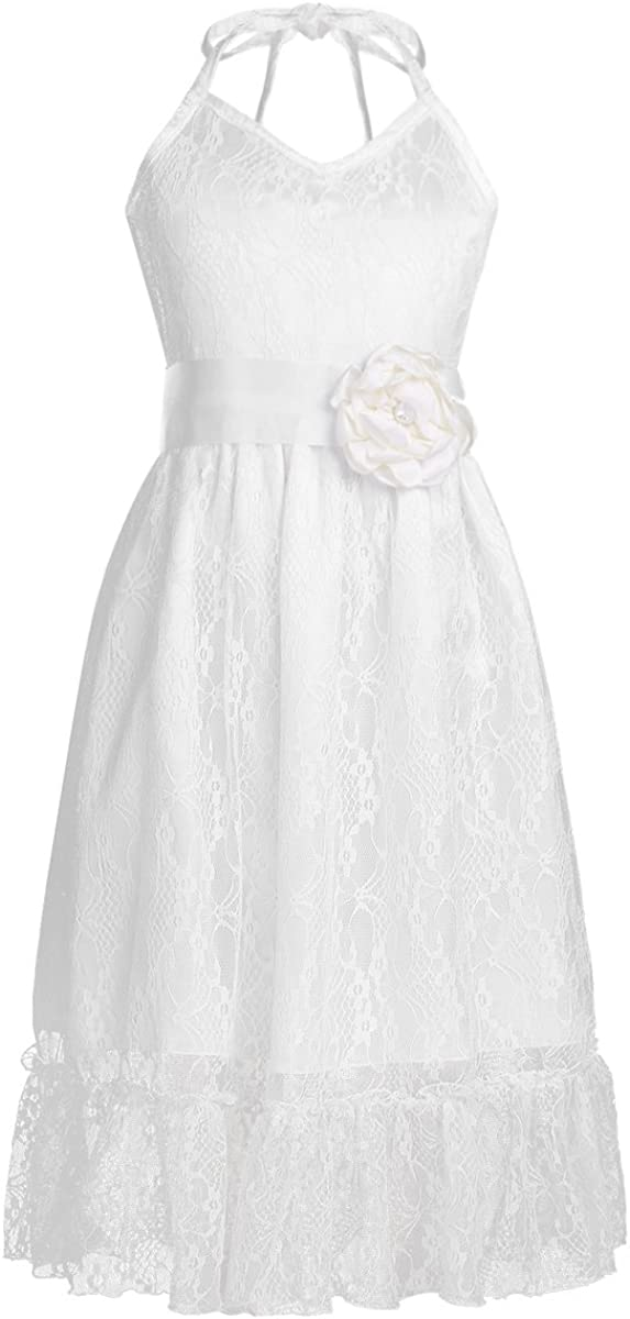 iEFiEL Kids Big Girls Flower Junior Bridesmaid Wedding Gown Party Princess Pageant Lace Dress with Sash