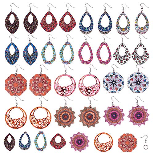 SUNNYCLUE DIY 14 Pares Bohemia Pendientes de Madera para Mujer Declaración Pendiente Geométrico Fabricación Kit de Inicio Suministros para Mujeres Niñas Principiantes