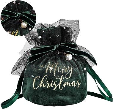 Cabilock 2Pcs Bolsa de Regalo de Navidad Bolsas de Lazo de Navidad de Felpa Retro con Bolsa de Regalo de Perlas Caja de Dulce