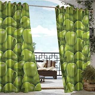 Outdoor- Free Standing Outdoor Privacy Curtain Apple,Granny Smith Harvest,W84 xL84 Outdoor Curtain Waterproof Rustproof Grommet Drape