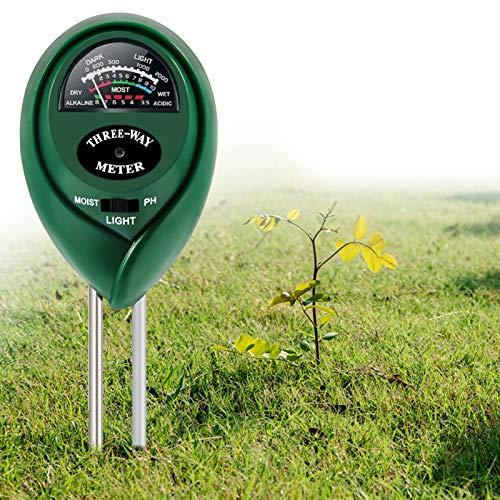 ZOTO Tester de Suelo 3 en 1 Medidor de Humedad Suelo Teste de luz y pH, probador de Planta para jardín, Granja, césped, Interior y Exterior (No Requiere Pilas)