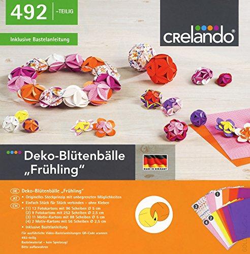 CRELANDO® Bastelset Frühjahr & Ostern - Deko-Blütenbälle, 492-teilig