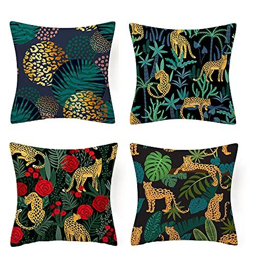 SCVBLJS Funda de cojín verde para sofá de pájaros, funda de almohada para cama de 45 x 45 cm, funda de cojín geométrica, color azul