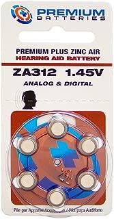 Premium Batteries Premium Plus Zinc Air Hearing Aid Batteries ZA312 1.45V Size 312, PR41, P312 (60 Batteries)