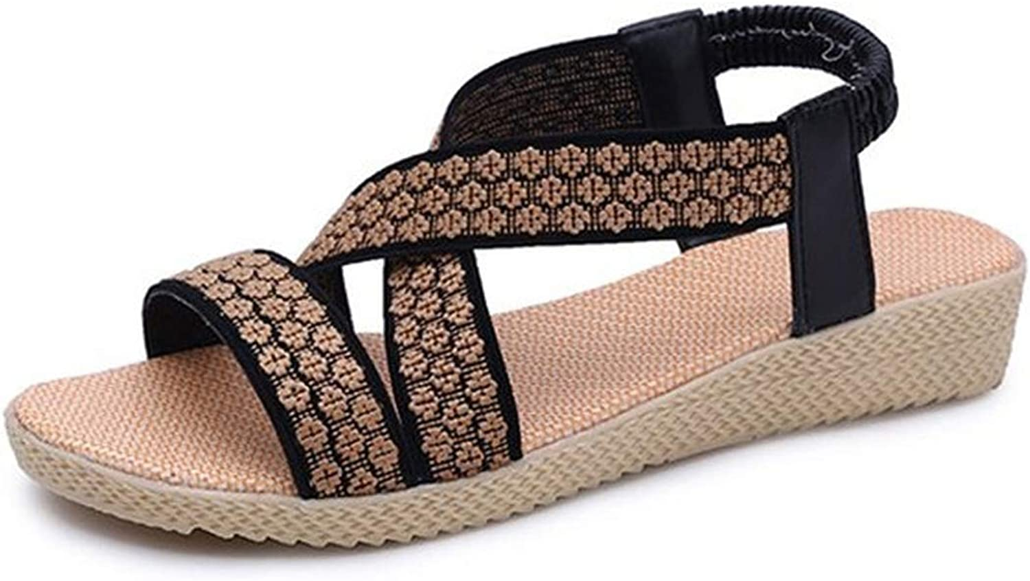 Female Summer Sandals Flat with Open Toe shoes Elastic Stretch Fabric Roman Cross Footwear