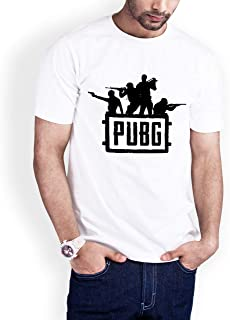 Casual Printed T-Shirt for Men, PUBG Game, White