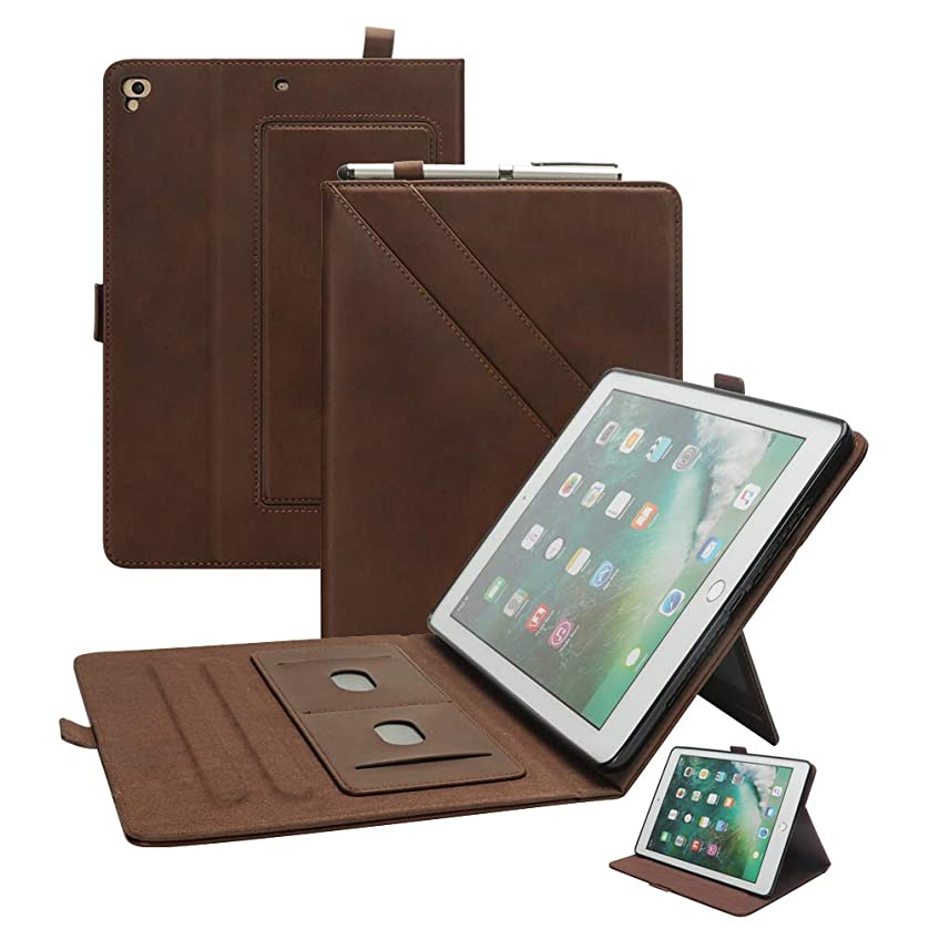 Leather Case for iPad Air 2, iPad 9.7 Case Smart with Pen Holder Multiple Angle Magnetic Book Cover Card Slots Kickstand Folio Compatible Apple iPad Pro 9.7 5th 2017 6th 2018 Generation (Brown) vwgejjral