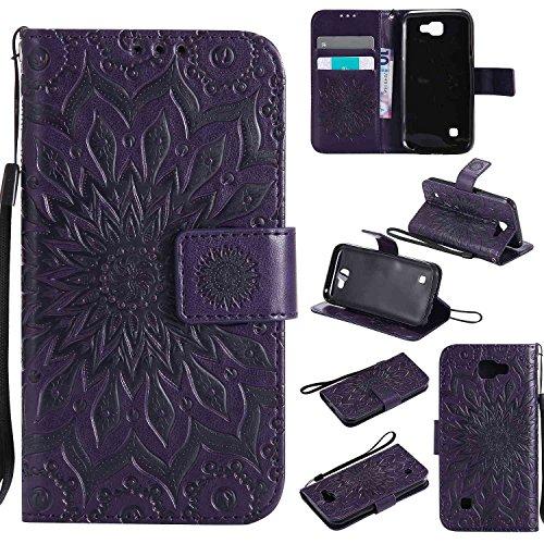 pinlu® PU Leder Tasche Etui Schutzhülle für LG K3 3G K100 (4,5 Zoll) Lederhülle Schale Flip Cover Tasche mit Standfunktion Sonnenblume Muster Hülle (Lila)