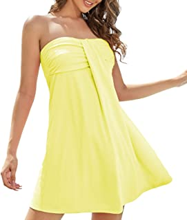 AS ROSE RICH Women's Strapless Bathing Suit Coverups Elastic Ruched Tube Top Beach Mini Dress