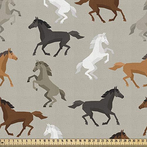 ABAKUHAUS Materiał konia jako towar na metry, motyw galopulacyjny, wysokiej jakości materiał dekoracyjny, tkanina tekstylna do domu, 2 m (148 x 200 cm), wielokolorowy