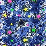 Baumwolljersey neon Sterne - Preis gilt für 0,5 Meter